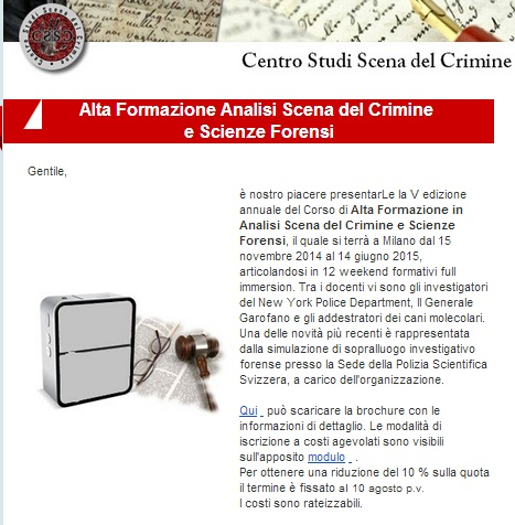 analisi della scena del crimine lezioni studio penale de Lalla
